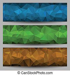 résumé, ensemble, bannières, triangles