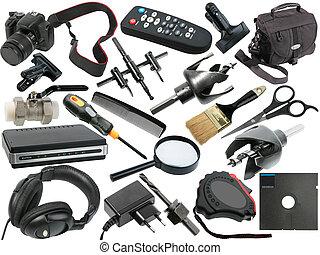 résumé, ensemble, de, noir, objets