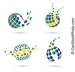 résumé, ensemble, globe, icônes