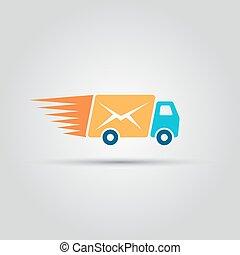 résumé, enveloppe, isolé, vecteur, camion, courrier, instead, caravane, icône