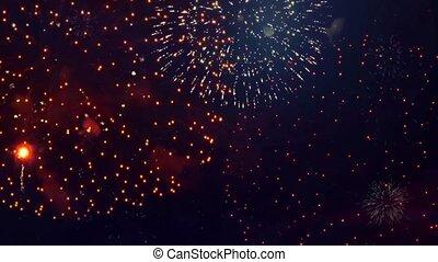 résumé, explosion, grand, particules, animation, feux artifice, arrière-plan., boucle