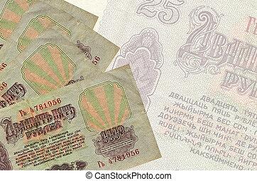 résumé, factures, mensonges, rubles, 25, pile, billet banque., semi-transparent, business, grand, fond, russe