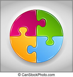 résumé, fait, puzzle, cercle, morceaux
