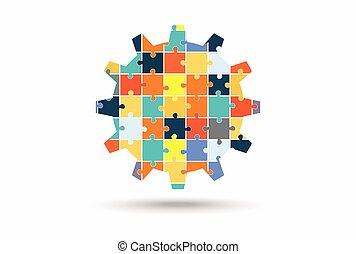 résumé, fait, puzzle, engrenage, morceaux