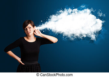 résumé, femme, jeune, nuage