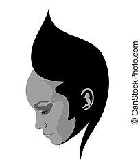 résumé, femme, symbole, figure
