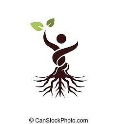 résumé, feuille, arbre, homme, vert, main, augmentation