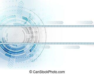 résumé, flèches, vecteur, fond, technologique, cercle