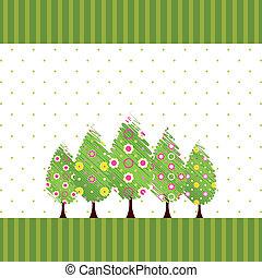 résumé, fleur, arbre, printemps, coloré