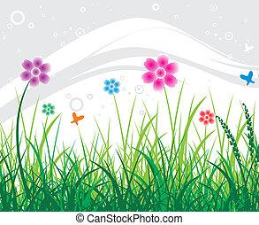 résumé, fleur, fond
