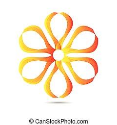 résumé, fleur, template., icône