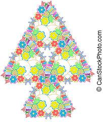 résumé, fleurs, arbre, fond blanc