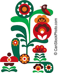 résumé, fleurs colorées, à, oiseau
