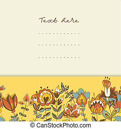 résumé, fleurs, frontière, hand-drawn