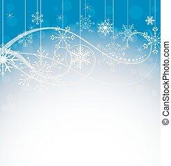 résumé, flocons neige, revêtir art, hiver, fond