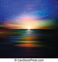 résumé, fond, à, mer, coucher soleil