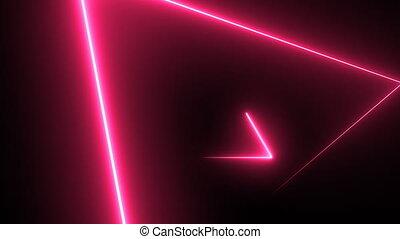 résumé, fond, à, néon, triangles