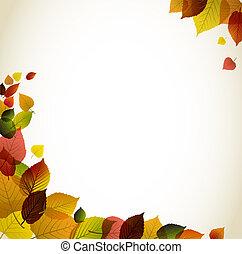 résumé, fond, automne, floral