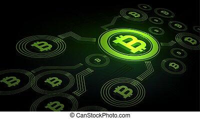 résumé, fond, bitcoin, numérique, monnaie