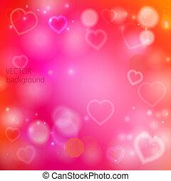 résumé, fond, cœurs, vecteur, brillant