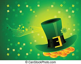 résumé, fond, chapeau, vert