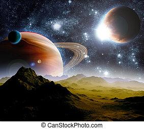 résumé, fond, de, profond, space., dans, les, loin, avenir,...