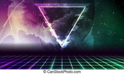 résumé, fond, glitch, mouvement, retro, futuriste, high-tech, triangle