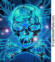 résumé, fond, illustration, crâne, numérique
