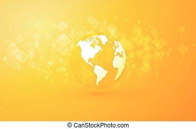 résumé, fond jaune, la terre, amérique, globe