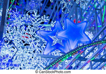 résumé, fond, lumières, bokeh, defocused, fête, étoiles, année, , nouveau