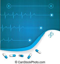 résumé, fond, monde médical, ekg, cardiologie