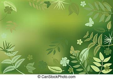 résumé, fond, nature, vert