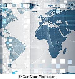 résumé, fond, technologie, planisphère