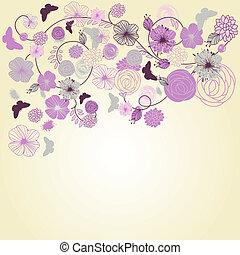 résumé, fond, vecteur, floral