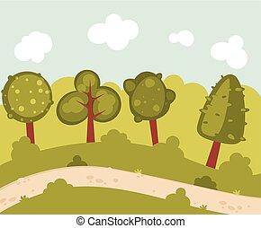 résumé, forêt, paysage
