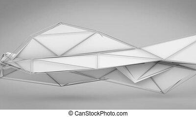 résumé, forme., polygonal, boucle, blanc, futuriste, 3d