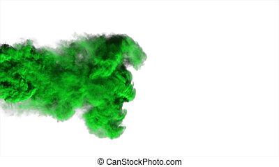 résumé, fumée, fond, blanc vert