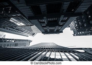 résumé, futuriste, cityscape., hong kong