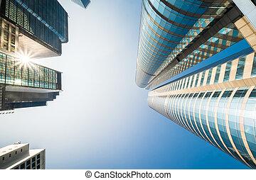 résumé, futuriste, cityscape, vue, à, moderne, skyscrapers., hong kong