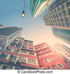 résumé, futuriste, cityscape, vue., hong kong