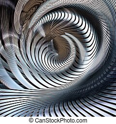 résumé, futuriste, spirale, métallique