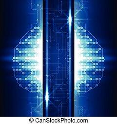 résumé, futuriste, technologie, cerveau, fond, vecteur, illustration
