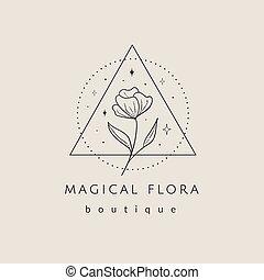 résumé, géométrique, cadre, logo, floral, étoiles