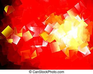 résumé, géométrique, cubisme, fond, rouges