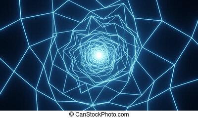 résumé, géométrique, grille, éclat, tunnel, bleu, chaotique