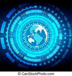 résumé, global, illustration, arrière-plan., vecteur, conception, technologie