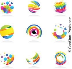 résumé, globe, icônes