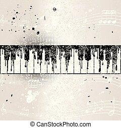 résumé, grunge, piano, fond, musical