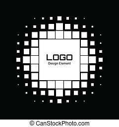 résumé, halftone, conception, logo, blanc, élément
