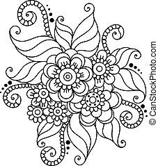 résumé, hand-drawn, mehndi, fleur, henné, ornement
